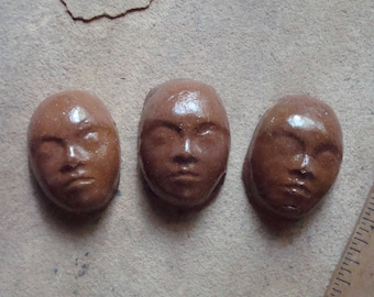 3 Brown Small Ceramic Clay Faces Glazed Cabochon for Mosaic, Crafts, Jewelry, Doll Making, Assemblage. Altered Art