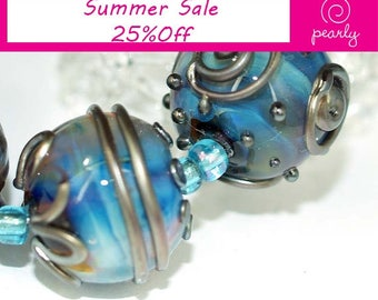 Blue and metallic 18mm round Handmade lampwork glass beads SRA set of 6, Lampwork Beads, glass beads, jewelry supplies, artisan glass beads