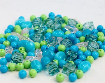 Tiny Assorted Turquoise, Light Pink and Lime Green Acrylic Beads, Mixed Shapes, Wholesale Bead Lot