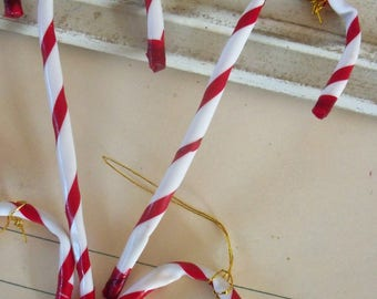 "Vintage / Candy Cane Ornaments / Bunch of Six / Cellophane Wrapped Striped Stems / 4"" Height"