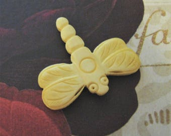Bone Dragonfly Focal Bead, Hand Carved Bone Pendant, 40mm Pale Yellow