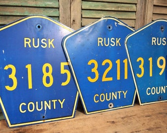 Choice of one Rusk County Metal Highway Sign Blue Yellow Road Numbers Typography