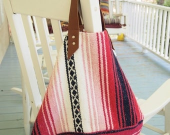 Beach Picnic Market Tote Made from a Vintage Woven Mexican Blanket Leather Handles Pink White black Bag Shopping Travel Carry-All