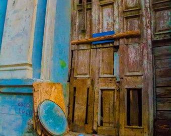 Doorway photograph wood brown blue beige wall openings Cuba door Havana Cuba art photo turquoise wall decor original art Cuban art door