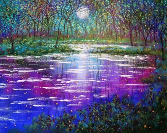 Original painting impressionist - Abstract moon landscape stream and fireflies