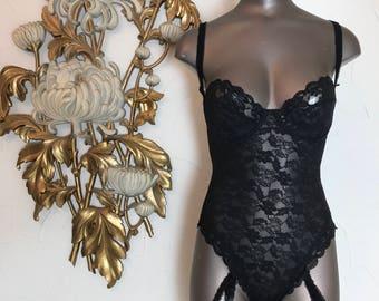 1980s teddie black lace teddie lace bodysuit size small 32 bust 25 waist vintage lingerie 1980s lingerie
