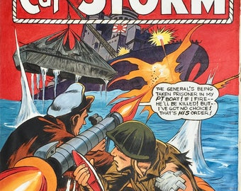WWII Navy Capt. STORM 1965  Original Cover PAINTING  or recreation  Mike Mall - Naval, Military, Comics, Comic Books Silver Age Illustration