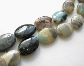 Golden Amazonite 10x14mm Flat Oval Beads Gemstone Full Strand
