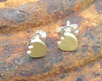 Tiny brass Tulip or Pac-Man ghosts stud earrings
