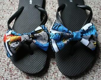 Batman Comic Flip Flop Sandals fabric handmade to your shoe size