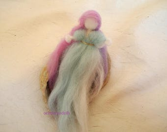 Fairy, waldorf miniature blessing wool doll fairy , needle felted small fairy sleeping in a shell