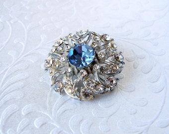 Vintage Rhinestone Brooch Something Blue Light Sapphire Star Flower Swirl Wreath Wedding Bridal Formal Evening Cocktail Prom Costume Jewelry