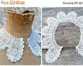 ON SALE Victorian French handmade Peter Pan cotton crochet lace collar