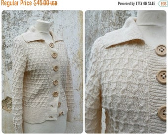 ON SALE Vintage 1970 French hand knitten cream with bic wood buttons sweater size S/M