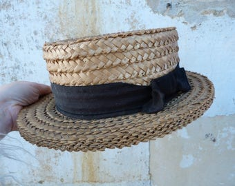 Vintage Antique French 1900s/1920s straw boater hat size 6 5/8