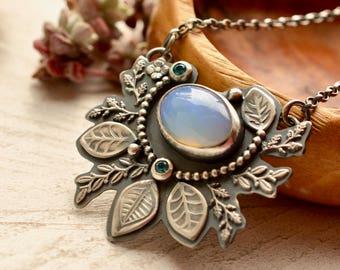 Ethiopian Opal Necklace, Silver Botanical Necklace, Opal Pendant, Blue Topaz Necklace, Vintage Style,  Modern Artisan Jewelry, Art Necklace
