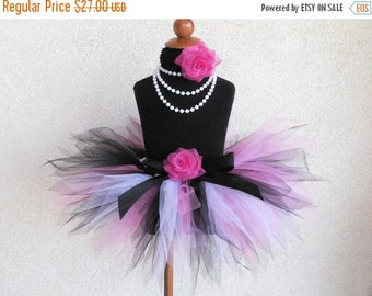 SUMMER SALE 20% OFF Baby Tutu - First Birthday Girls Tutu - Pink Black White Pixie Tutu - Rockabilly Pixie - Custom Sewn 8'' Tutu -up to 12