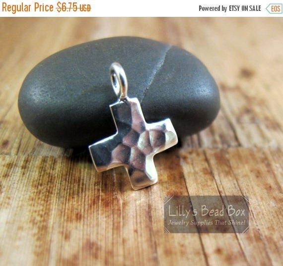 Summer SALEabration - Silver Cross Charm, .925 Sterling Silver Hammered Cross Charm, Silver Cross Pendant for Making Jewelry (CH 2534)