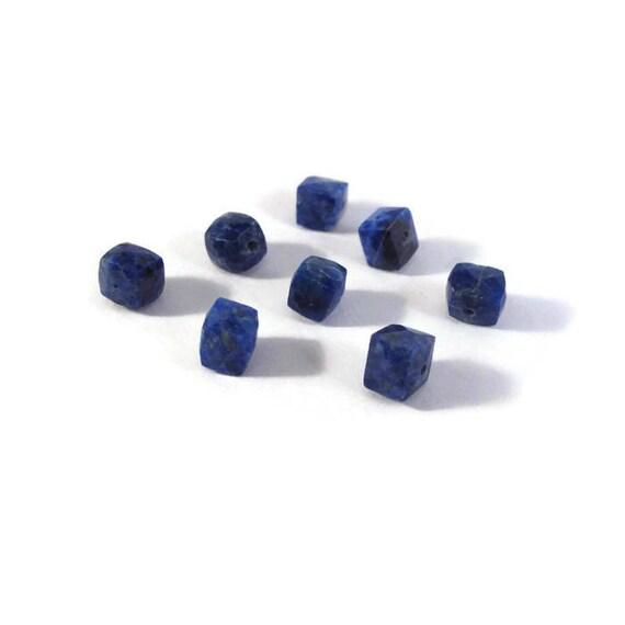 Eight Lapis Beads, Natural Lapis Lazuli Cubes, Geometric Faceted Cubes, Blue Gemstones, 8 Count, 4mm - 6mm (L-Lap1c)