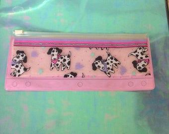 Vintage Pencil Case Papel Pink Dogs Dalmation