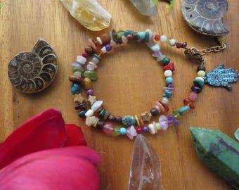 Gemstone Double Wrap Bracelet - Mixed Gem Hamsa - Earthy Hippy Jewelry - Amber - Boho Chic - Bohemian Jewelry - Festival Fashion