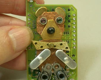 RECYCLED Circuit Board BEAR Brooch Steampunk Pin CB235G