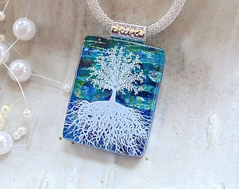 Tree of Life Necklace, Dichroic Fused Glass Pendant,  Glass Jewelry, Blue, Green, Gold, Necklace Included, A2