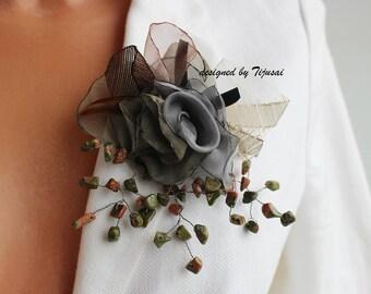 RESERVED-Garden flower composition-pin-brooch-women accessory, fiber jewelry