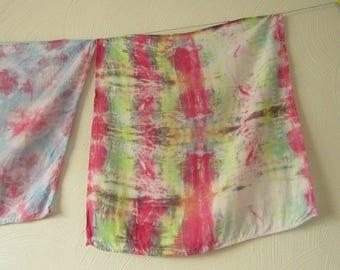 Shibori, Viscose Rayon, Pink, White Green and Yellow Scarf
