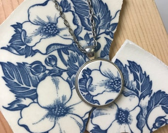 Blue Floral Broken Dishware Necklace