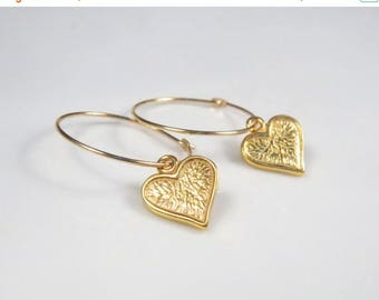 SALE - Gold heart earrings, gold filled hoops earrings, anniversary gifts for girlfriend, Small gold hoops