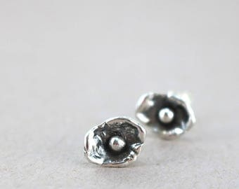 Sterling Silver stud earrings, shells, oxidized, Ocean inspired jewelry