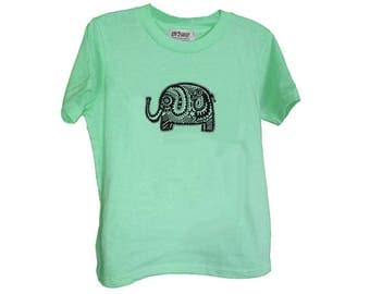 Green Elephant Kids Tshirt Size 2 4 6 American Apparel Cotton T2 T4 T6