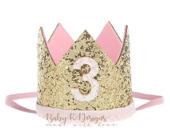 First Birthday Crown | 1st Birthday Girl Cake Smash | 1/2 Birthday | Baby Girl First Birthday Outfit | 2nd 3rd Birthday Hat Gold Baby Pink