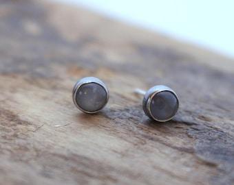 Silver Moonstone Sterling Stud Earrings - Moonstone jewelry