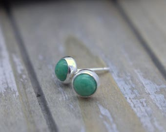 Turquoise green stud earrings - Turquoise Sterling Silver Jewelry