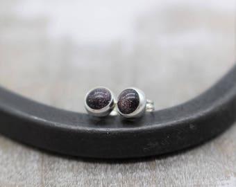 Blue Gold Stone Sterling Silver Stud Earrings
