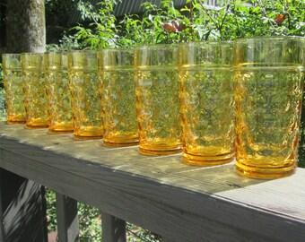 Eight Vintage Golden Amber Tumblers - Nine Ounce Beverage Glasses - Thumbprint Glasses