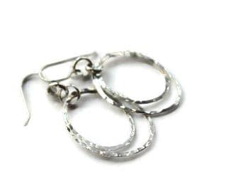 Oval Sterling Dangle Earrings, Hoop Earrings, Metalwork, Chandelier Sterling earrings