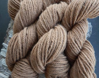 Alpaca Yarn  Fawn Three Ply Bulky Weight 200 yards 7.5 Ounces Knit Crochet Weave DIY Handmade