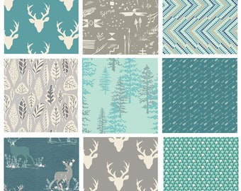 9 FABRIC WOODLAND BUNDLE - Hello, Bear - Blithe - Nightfall - Art Gallery - Bonnie Christine - Woodland Deer Forest Trees Moths Blue Gray