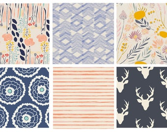 6 FABRIC QUILTING BUNDLE - Hello Bear - Morning Walk - Winged - Art Gallery Fabrics - Leah Duncan - Blue Orange Pink - Desert Fabric