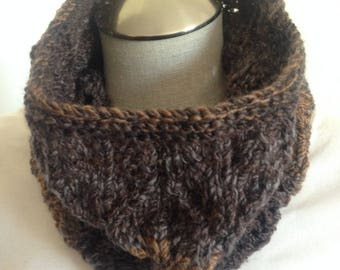 Shades of brown knit cowl, neck scarf,  infinity scarf,  lace cowl