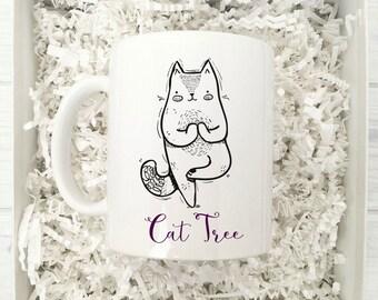 Cat Tree Yoga Coffee Mug | Ceramic Coffee Mug | Gift for Yoga Class | Coffee Mug Gift | Sublimation Mug |  Yoga Coffee Mug | Yoga Tree Pose