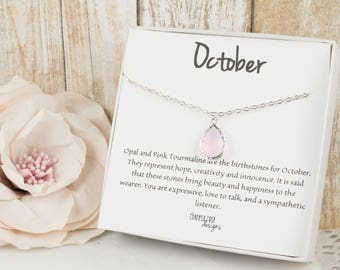 October Birthstone Silver Teardrop Necklace, Pink Opal Necklace, October Birthday Jewelry, Personalized Silver Necklace, Birthday Gift