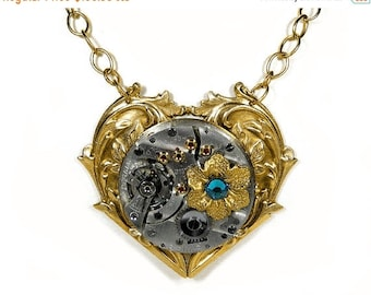 Steampunk Jewelry Gold Heart Necklace RARE Pocket Watch, Flower Turquoise Crystal, Anniversary Valentine Day Gift READY SHIP - by edmdesigns