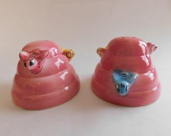 VINTAGE Pink BeeHive Salt and Pepper SHAKERS