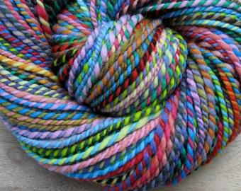 Spectra - handspun handdyed patchwork striping wool yarn