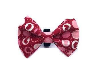 Bow Tie for Dog Collar attaches with Velcro Round Hearts