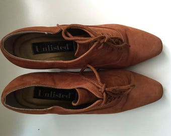 Tan Suede Shoes Vintage suede shoes, 90's does 70's brown suede shoes, leather shoes,